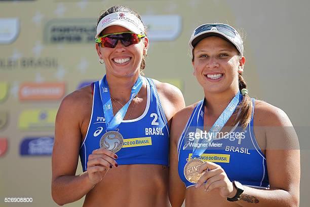 Liliane Maestrini and Rebecca Silva of Brazil receive Bronze Medal during the Women Awarding ceremony during the FIVB Fortaleza Open on Futuro Beach...