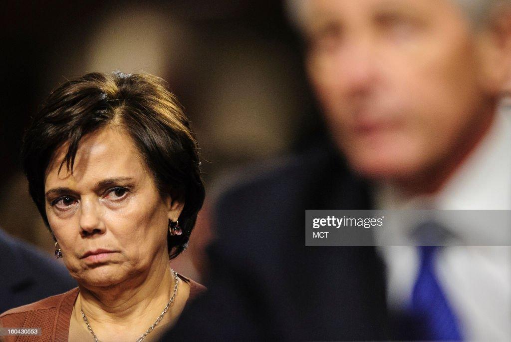 Lilibet Hagel looks on as her husband, former Senator Chuck Hagel (R-NE), testifies before the Senate Armed Services Committee, Thursday, January 31, 2013 in Washington, D.C.