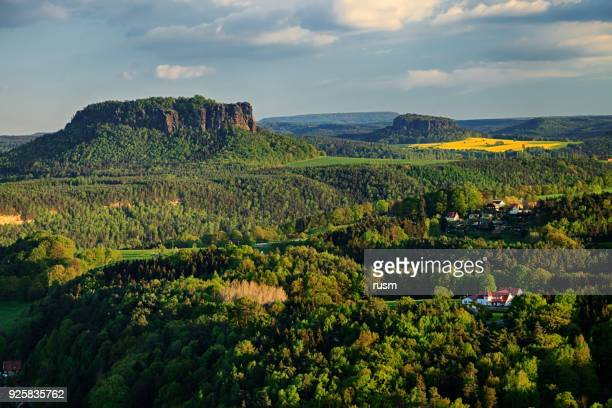 lilienstein mountain in saxon switzerland, germany - saxony stock pictures, royalty-free photos & images