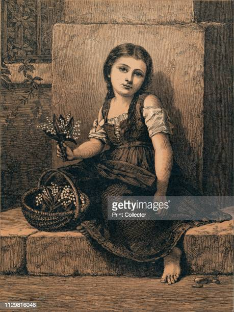 'Lilies of the Valley' 1873 Barefott child with basket of flowers [Kronheim Co London 1873] Artist Unknown