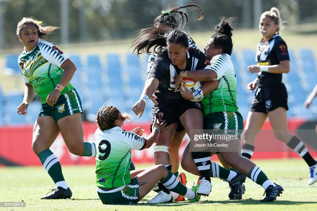 Lilieta Maumau of New Zealand is tackled during the 2017 Women's Rugby League World Cup match between New Zealand and Cook Islands at Southern Cross Group Stadium on November 19, 2017 in Sydney, Australia.