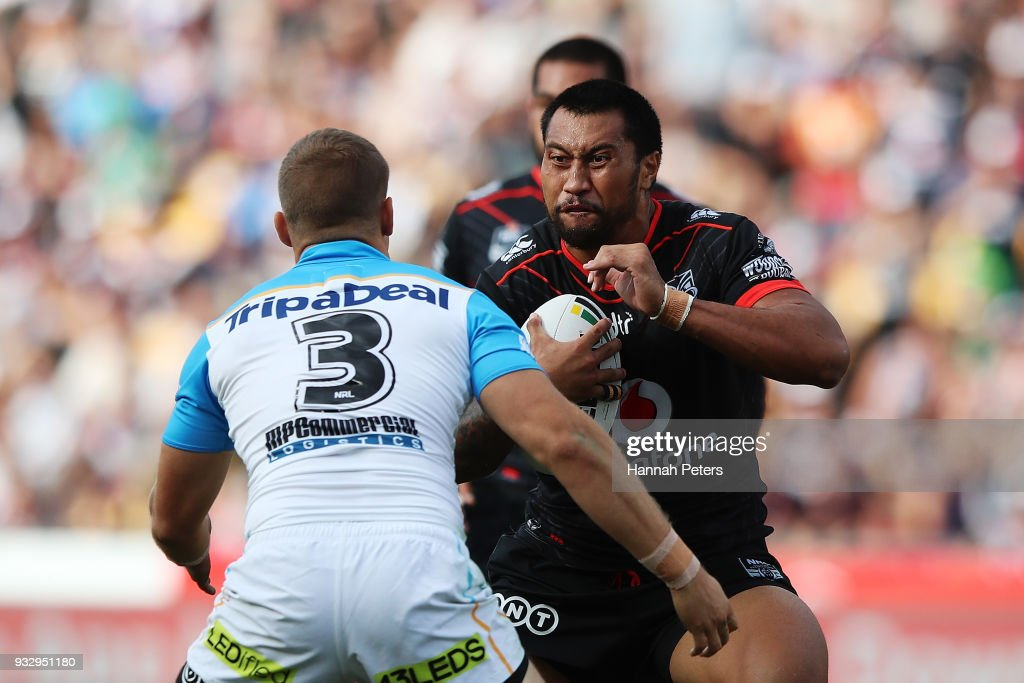 Liligiifo Sao of the Warriors charges forward during the round two NRL match between the New Zealand Warriors and the Gold Coast Titans at Mt Smart Stadium on March 17, 2018 in Auckland, New Zealand.