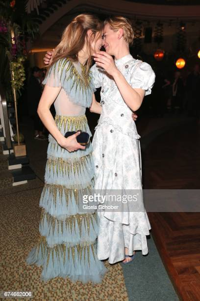 Lilith Stangenberg and Sandra Hueller during the Lola German Film Award after party at Palais am Funkturm on April 28 2017 in Berlin Germany