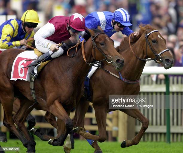 Lilium No 6 ridden by Jimmy Fortune wins The Hole In The Wall Oh So Sharp Stakes from Nafisah at Newmarket races