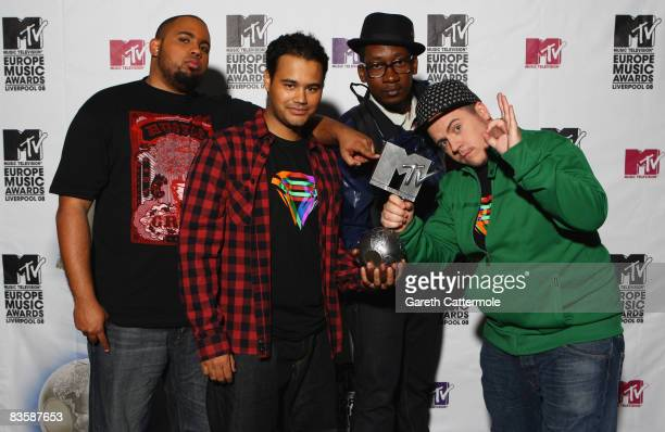 Lil'John, Riot, Conductor and Kalaf of Buraka Som Sistema, Regional Award Winners for Portugal pose with their award during the MTV Europe Music...
