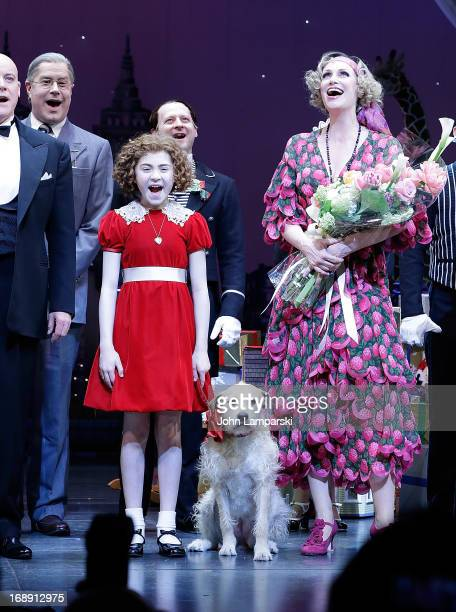 Lilla Crawford and Jane Lynch attend Jane Lynch's opening night in Broadway's Annie at The Palace Theatre on May 16 2013 in New York City