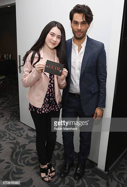Lilla Crawford and Joey Maalouf attend The Glam App Launches in New York on April 23 2015 in New York City