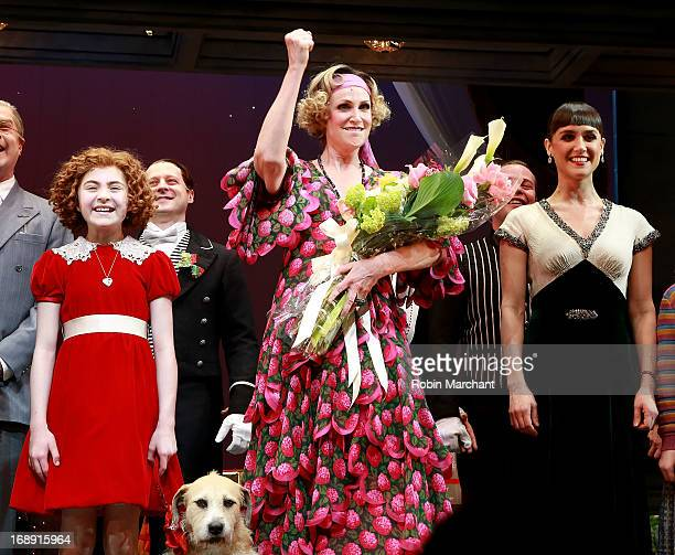Lilla Crawford Jane Lynch Brynn O'Malley and cast during curtain call of AnnieThe Musical at The Palace Theatre on May 16 2013 in New York City