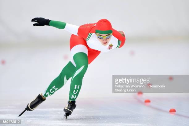 Lilla Malinovszky of Hungary performs during the Ladies 1500 Meter at the ISU Junior World Cup Speed Skating at Max Aicher Arena on November 26 2017...
