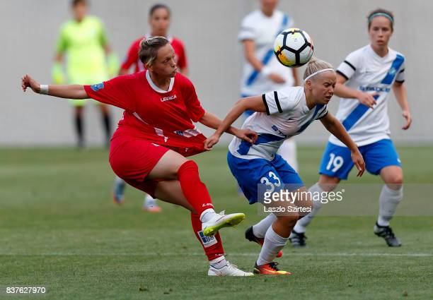 Lilla Nagy of MTK Hungaria FC fights for the ball with Donjeta Haxha of WFC Hajvalia during the UEFA Women's Champions League Qualifying match...
