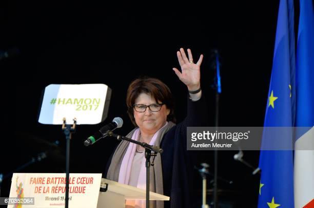 Lille city Mayor Martine Aubry attends French Socialist Party Presidential candidate Benoit Hamon political meeting Place de la Republique on April...