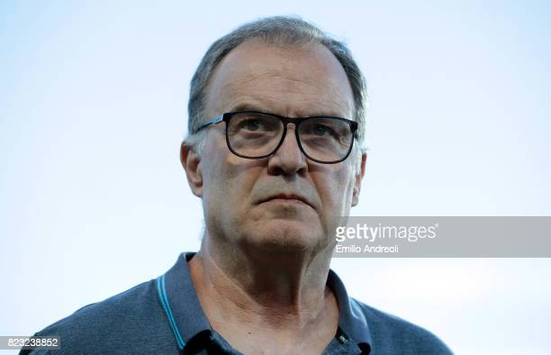 Lille coach Marcelo Bielsa looks on before the pre-season friendly match between Atalanta BC and LOSC Lille at Stadio Atleti Azzurri d'Italia on July...