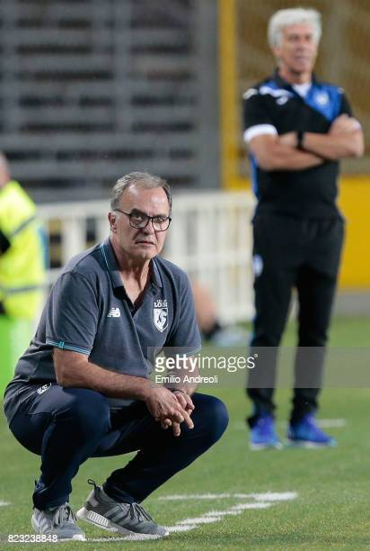 Lille coach Marcelo Bielsa looks on during the preseason friendly match between Atalanta BC and LOSC Lille at Stadio Atleti Azzurri d'Italia on July...