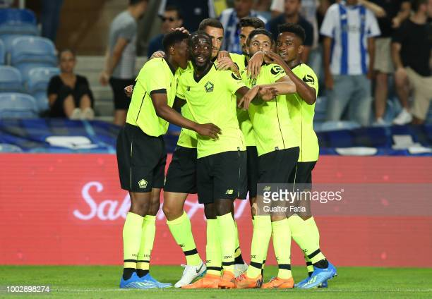 Lille forward Lebo Mothiba from South Africa celebrates with teammates after scoring the winning goal during the Algarve Cup match between FC Porto...