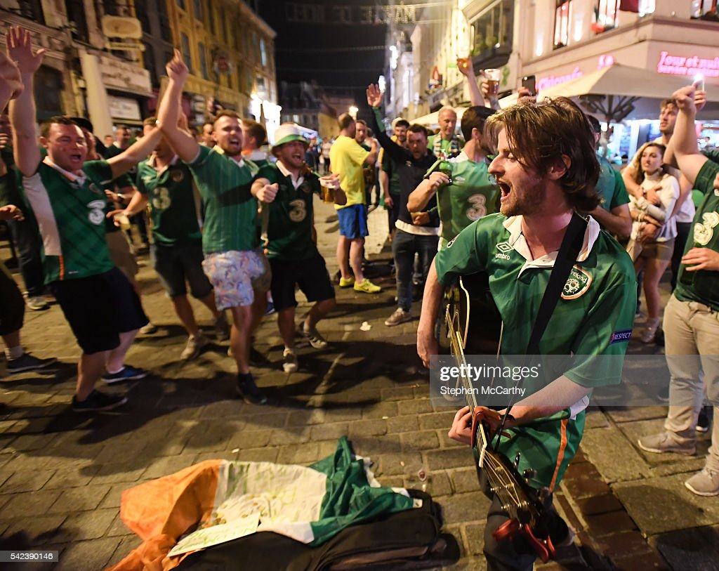 Lille , France - 22 June 2016; Musician Richy Sheehy, from Carrignavar, Co. Cork, entertains Republic of Ireland supporters after their victory during the UEFA Euro 2016 Group E match between Italy and Republic of Ireland in Lille, France.