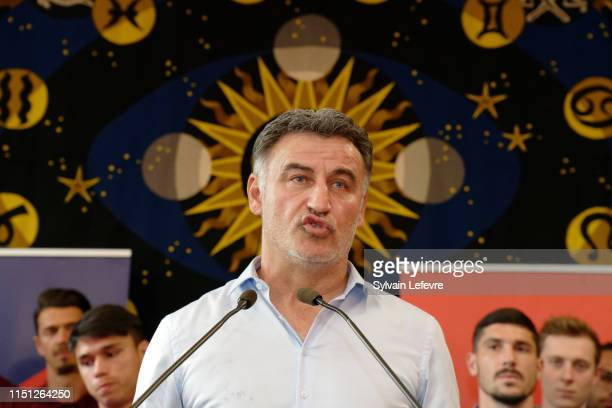 Lille head coach Christophe Galtier attends a reception at Lille's town hall with Lille's mayor Martine Aubry to celebrate their vice-champion of 1st...