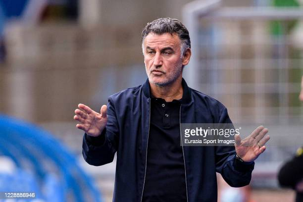 Lille Head Coach Christophe Galtier gestures during the Ligue 1 match between RC Strasbourg and Lille OSC at Stade de la Meinau on October 4, 2020 in...