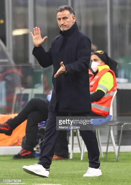 Lille head coach Christophe Galtier gestures during the UEFA Europa League Group H stage match between AC Milan and LOSC Lille at San Siro Stadium on...