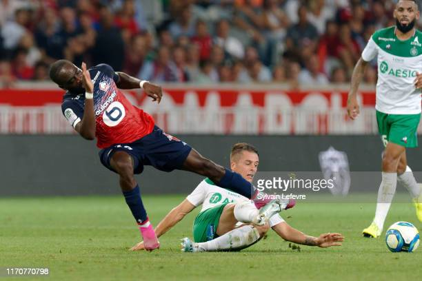 Lille Jonathan Ikone fights for the ball with St Etienne's Romain Hamouma during the Ligue 1 match between Lille OSC and AS Saint-Etienne at Stade...