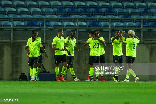 Lille midfielder Xeka celebrates after scoring Lille's first goal with his teammates during the match between FC Porto v LOSC Lille for Algarve...