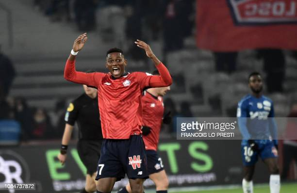 Lille' Raphael Leao jubilates after scoring during the French L1 football match between Lille and Amiens on January 18 2019 at the Pierre Mauroy...