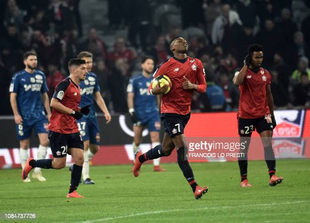 Lille' Raphael Leao runs after scoring during the French L1 football match between Lille and Amiens on January 18 2019 at the Pierre Mauroy Stadium...
