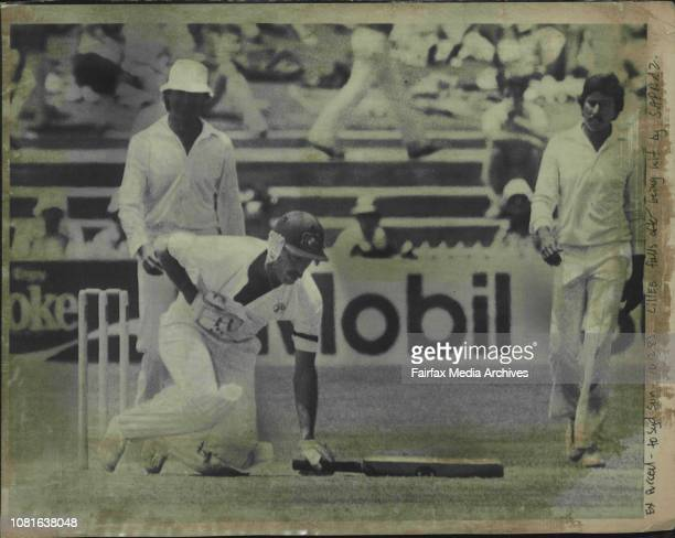 Lillee falls after being hit by SafrazDennis Lillee holds his chest and drops to his knees in pain after being struck by a ball from fast bowler...