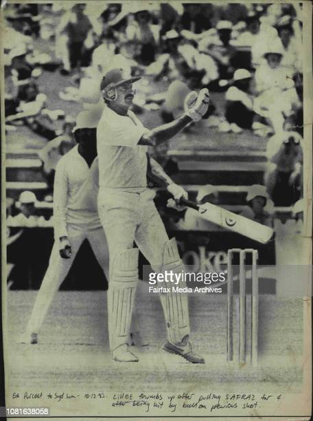 Lillee thumbs up after pulling Sarfraz for 4 after being hit by ball on precious shotAustralian veteran Dennis Lillee gives the thumbs up sign to...