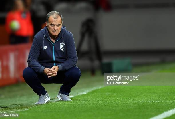 Lille's Argentinian head coach Marcelo Bielsa gesture during the French L1 football match between Lille OSC and Bordeaux at the PierreMauroy Stadium...