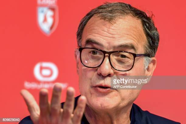 Lille's Argentinian head coach Marcelo Bielsa gestures as he speaks during a press conference at the 'Domaine de Luchin' on August 5 2017 in...