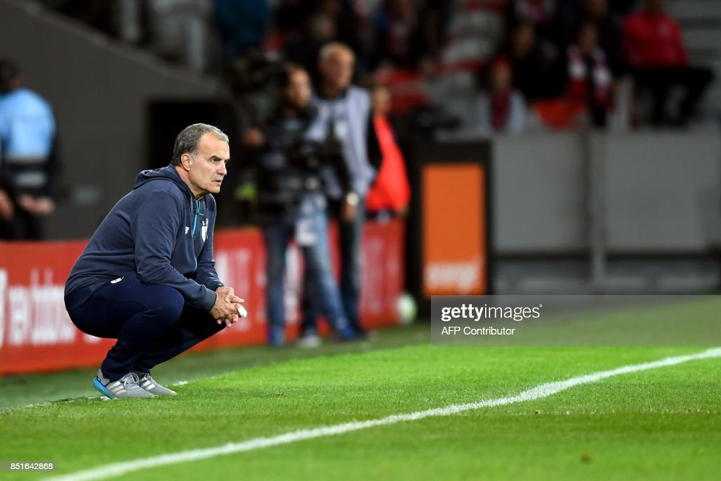 Lille's Argentinian head coach Marcelo Bielsa looks on during the French L1 football match between Lille OSC (LOSC) and Monaco on September 22, 2017 at the Pierre-Mauroy Stadium in Villeneuve d'Ascq, near Lille, northern France. /