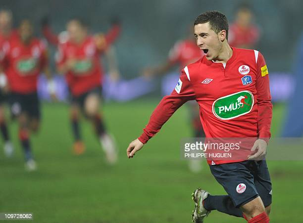 Lille's belgian midfielder Eden Hazard reacts after Lille won the French Cup football match Lille vs Lorient on March 2 2011 at Lille metropole...
