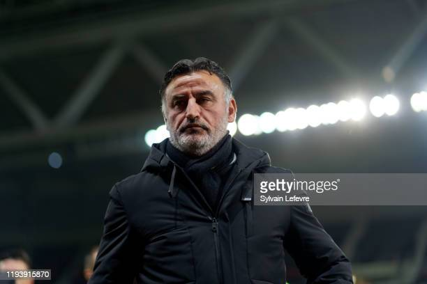 Lille's coach Christophe Galtier during the Ligue 1 match between Lille OSC and Montpellier HSC at Stade Pierre Mauroy on December 13, 2019 in Lille,...