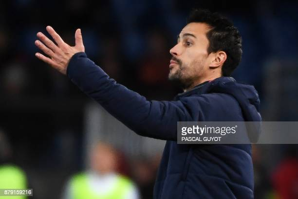 Lille's coach Joao Sacramento gestures during the French L1 football match between MHSC Montpellier and Lille on November 25 2017 at the La Mosson...