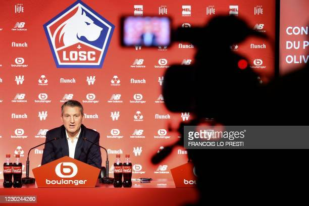 """Lille's football club new CEO Olivier Letang speaks during a press conference at the club's training camp """"Le domaine de Luchin"""" in..."""