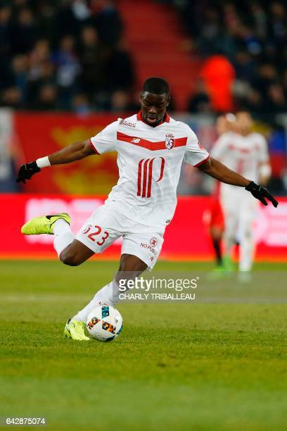 Lille's French defender Adama Soumaoro runs during the French L1 football match between Caen and Lille on February 18 2017 at the Michel d'Ornano...