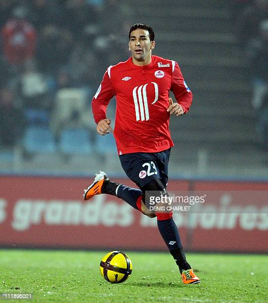 Lille's french defender Adil Rami controls the ball during the French L1 football match Lille vs Lens on January 29 2011 at Lille metropole stadium...