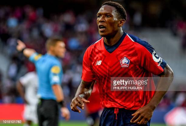 Lille's French forward Lebo Mothiba celebrates after scoring a goal during the French L1 football match between Lille and Rennes on August 11 2018 at...