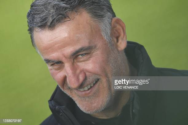 Lille's French head coach Christophe Galtier looks on ahead of the French L1 football match between Angers SCO and Lille OSC at The Raymond-Kopa...