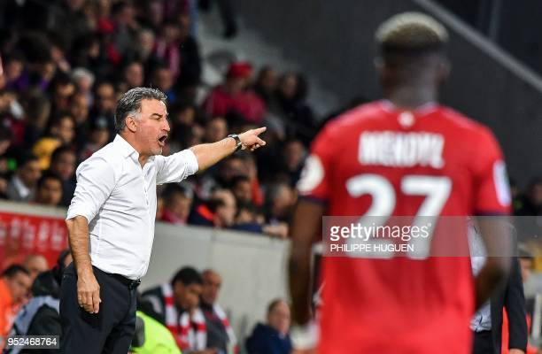 Lille's french headcoach Christophe Galtier gestures during the French L1 football match between Lille and Metz on April 28 2018 at the Pierre Mauroy...