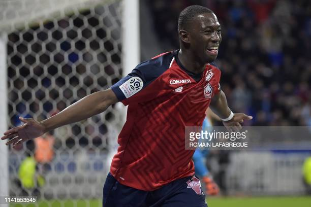 Lille's French midfielder Boubakary Soumare celebrates after scoring a goal during the French L1 football match between Olympique Lyonnais and Lille...