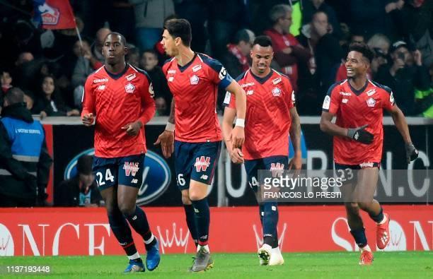 Lille's French midfielder Boubakary Soumare Lille's Portuguese defender Jose Fonte Lille's Brazilian defender Gabriel Dos Santos and Lille's...