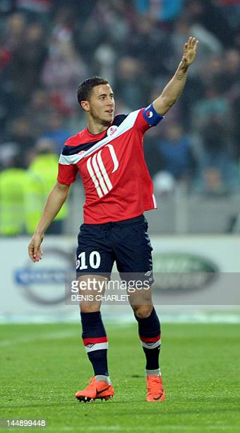 Lille's french midfielder Eden Hazard celebrates after scoring a goal during the French L1 football match Lille vs Nancy on May 20 2012 at Lille...