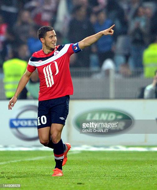 Lille's French midfielder Eden Hazard celebrates after scoring a goal during the French L1 football match Lille vs Nancy, on May 20 2012 at Lille...