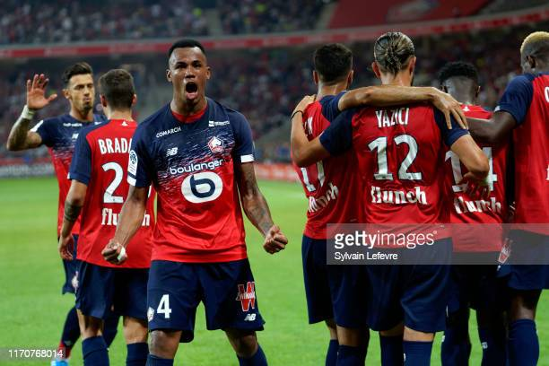 Lille's Gabriel celebrates after his team scored a goal during the Ligue 1 match between Lille OSC and AS Saint-Etienne at Stade Pierre Mauroy on...