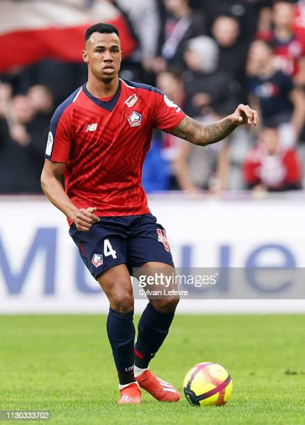 Lille's Gabriel Dos Santos Magalhaes in action during the Ligue 1 match between Lille and Montpellier at Stade Pierre Mauroy on February 17 2019 in...
