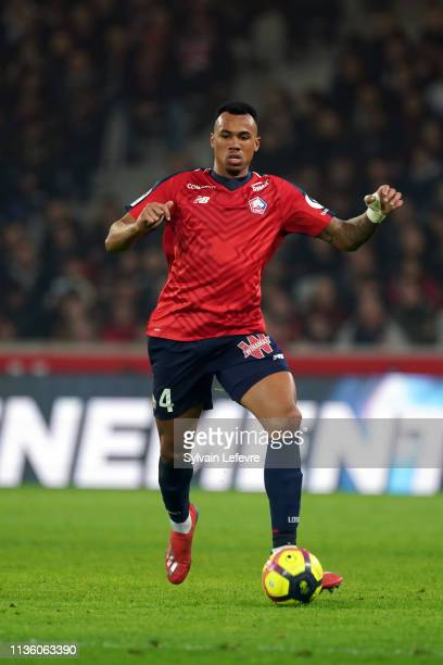 Lille's Gabriel dos Santos Magalhães during the French Ligue 1 match between Lille OSC and AS Monaco at Stade Pierre Mauroy on March 15, 2019 in...