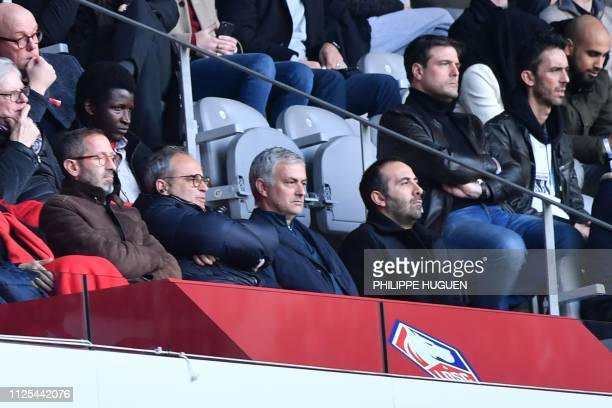 Lille's general manager Marc Ingla and Lille's Portuguese sports director Luis Campos sits next to former Manchester United manager Jose Mourinho as...