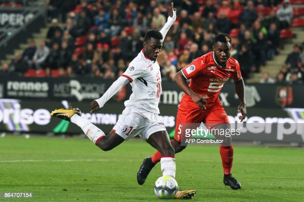 Lille's Ivorian forward Nicolas Pepe kicks the ball during the French L1 football match between Rennes and Lille on October 21 at the Roazhon Park...
