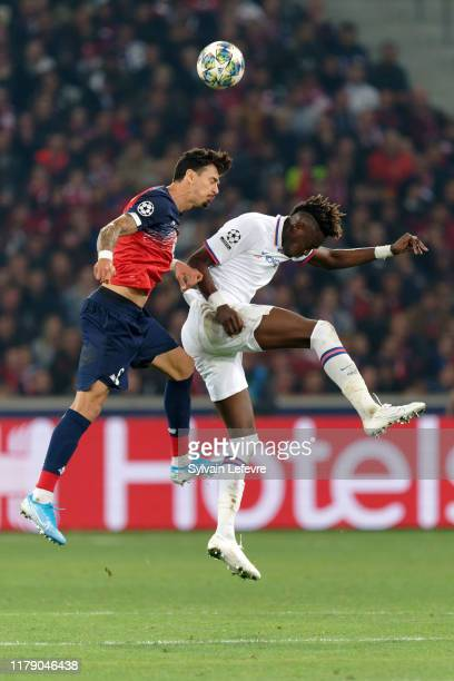 Lille's Jose Fonte and Chelsea's Tammy Abraham go for a header during the UEFA Champions League group H match between Lille OSC and Chelsea FC at...